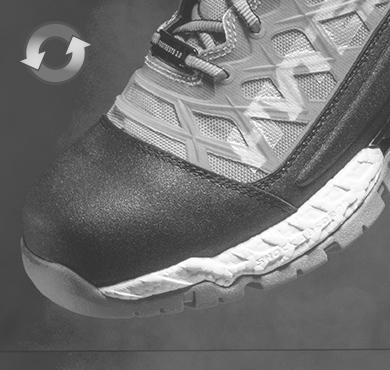 Detail shot of Hytest shoe in color